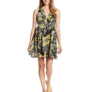 BB Dakota Deep V Yellow Zebra Dress Size S